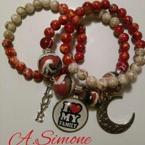 """""""I Love My Family"""" Marble bracelet set"""